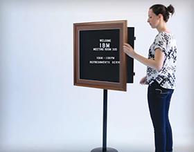 Wood Framed SwingFrame Changeable Letterboard Floorstand