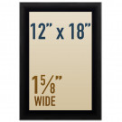 "Snap open 12 x 18 poster frames in 1 5/8"" wide profile"