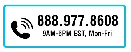 Call Us at 1-800-289-1539, 9AM-6PM EST, Mon-Fri
